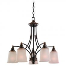 Sea Gull 31333-715 - Warwick Five Light Chandelier in Autumn Bronze with Smoky Parchment Glass