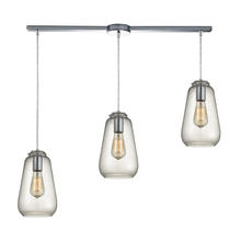 ELK Lighting 10423/3L - Orbital 3-Light Linear Pendant Fixture in Polished Chrome with Clear Glass