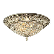 ELK Lighting 11693/2 - Andalusia 2-Light Flush Mount in Aged Silver with Clear Crystal and Beaded Glass Diffuser