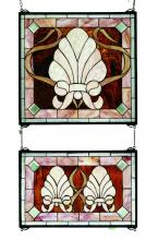 "Meyda Tiffany 71270 - 20""W X 32""H Shell and Ribbon 2 Pieces Stained Glass Window"